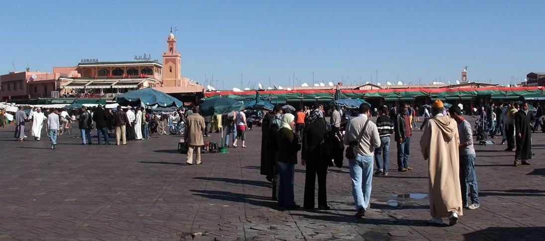 La Place Jamaâ El Fna, Marrakech au Maroc