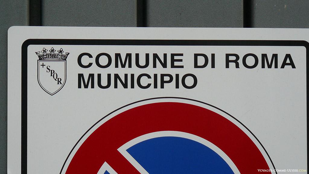 Comune di Roma, panneau de signalisation routière