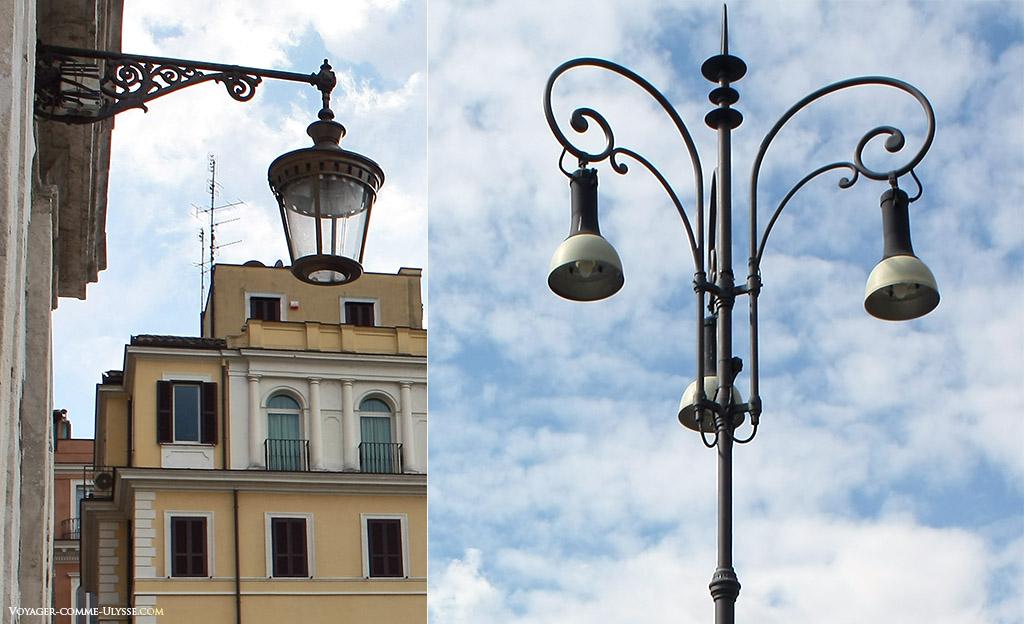 Deux très beaux lampadaires romains.