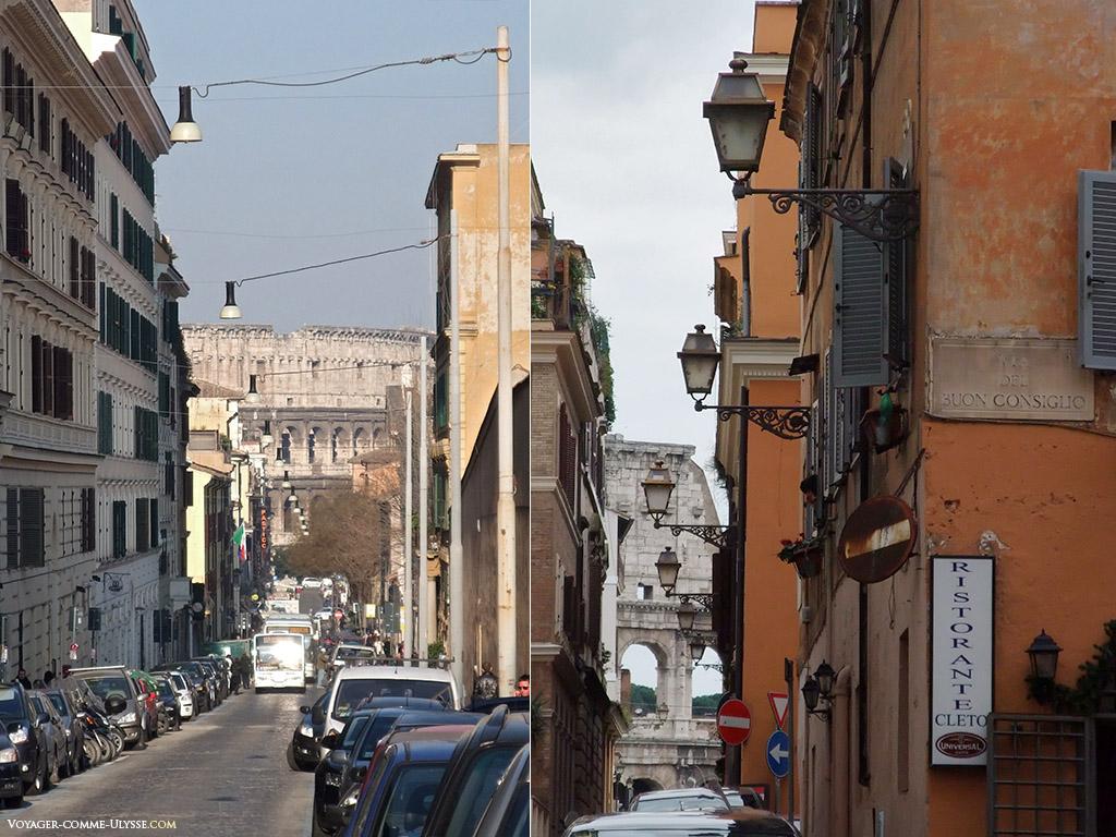 Lampadaires dans les rues menant au Colisée