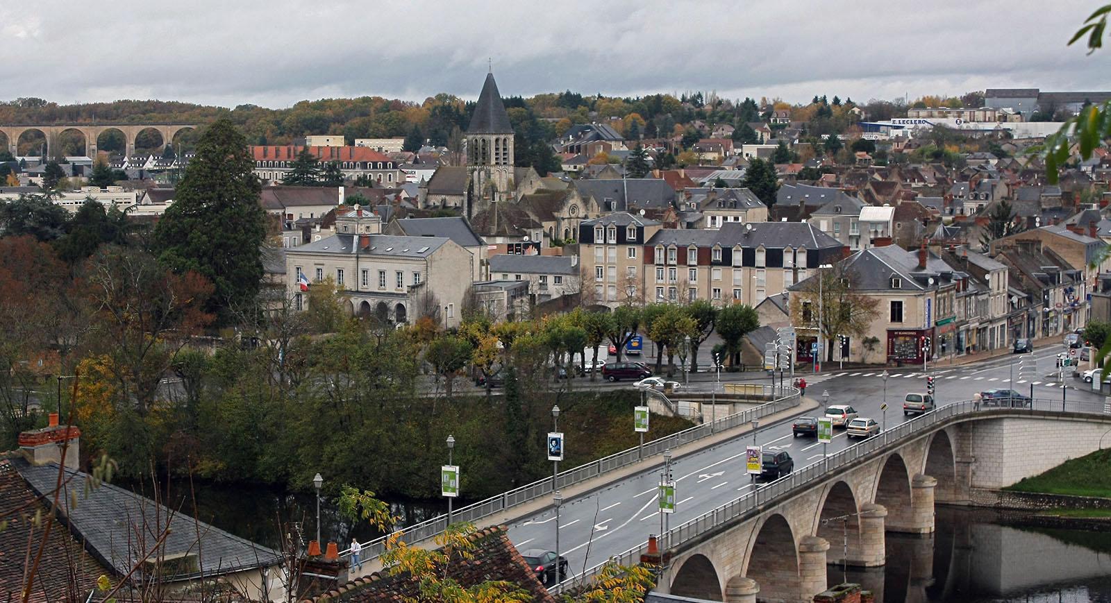 Le Blanc, petite ville française de l'Indre, sur la Creuse