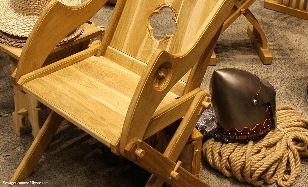 Détail d'un fauteuil en bois