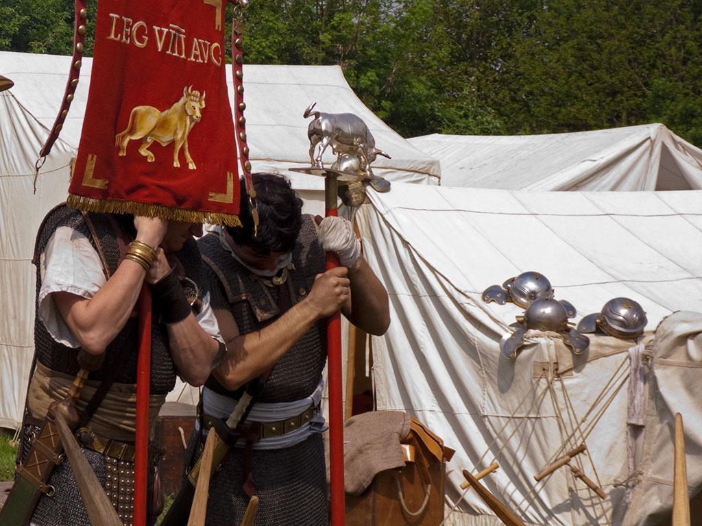 Les enseignes de la légion VIII