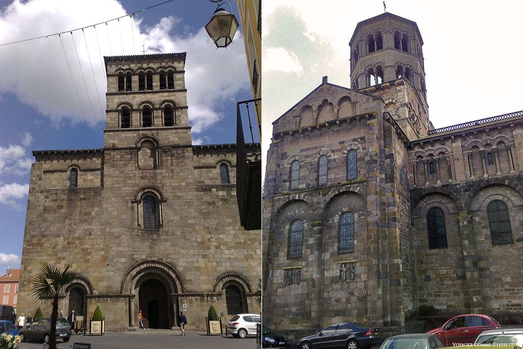 A gauche, façade de l'église romane