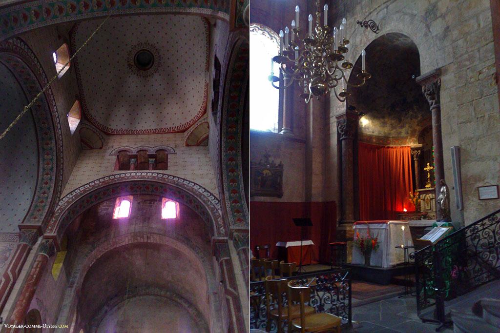 Photos de l'intérieur roman de l'église auvergnate