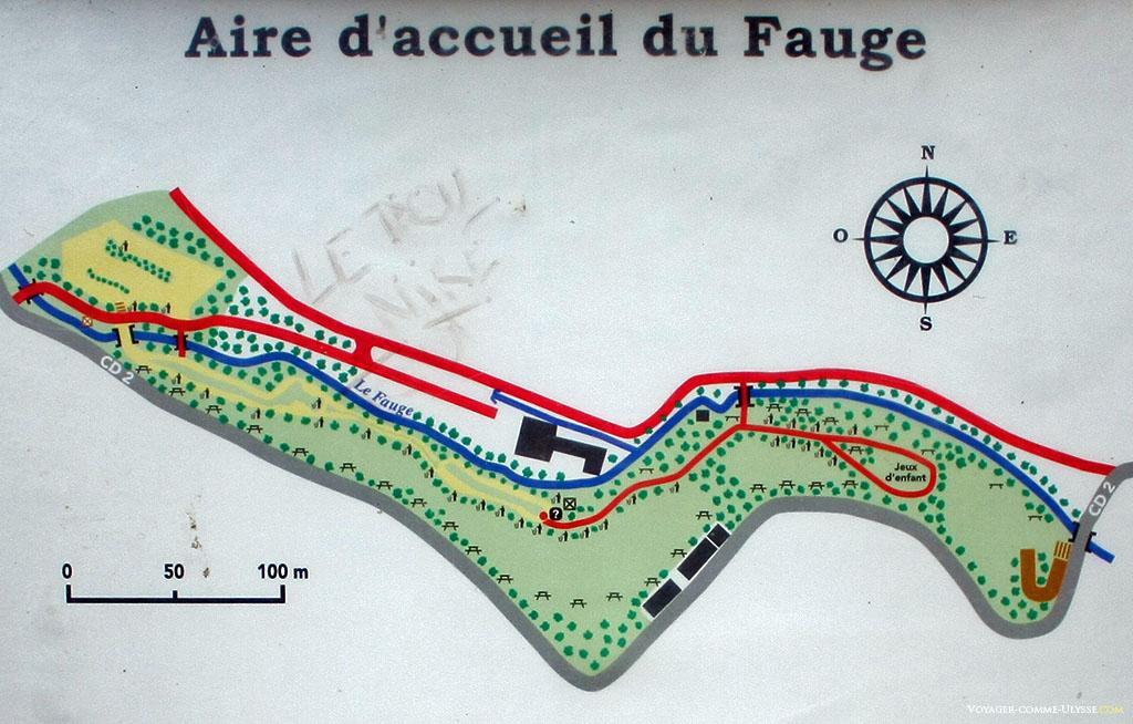 Plan de l'aire du Fauge, parc de Saint-Pons.