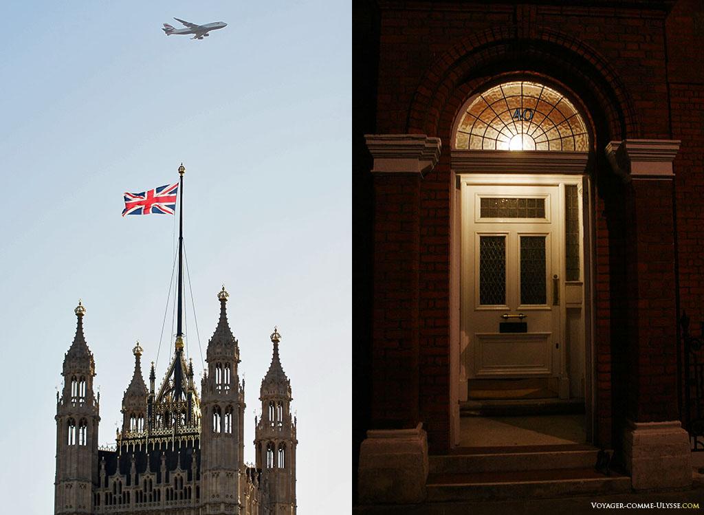 Icônes de Londres, un avion survolant la Tour Victoria du Palais de Westminster à gauche, et une porte comme tant d'autres d'un immeuble résidentiel de Londres à droite.