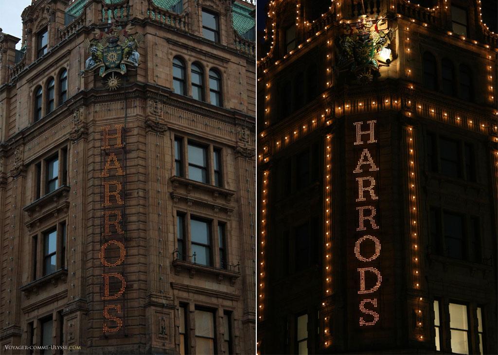 L'enseigne lumineuse de Harrods, de jour et de nuit. Une ampoule n'était pas allumée sur le blason...