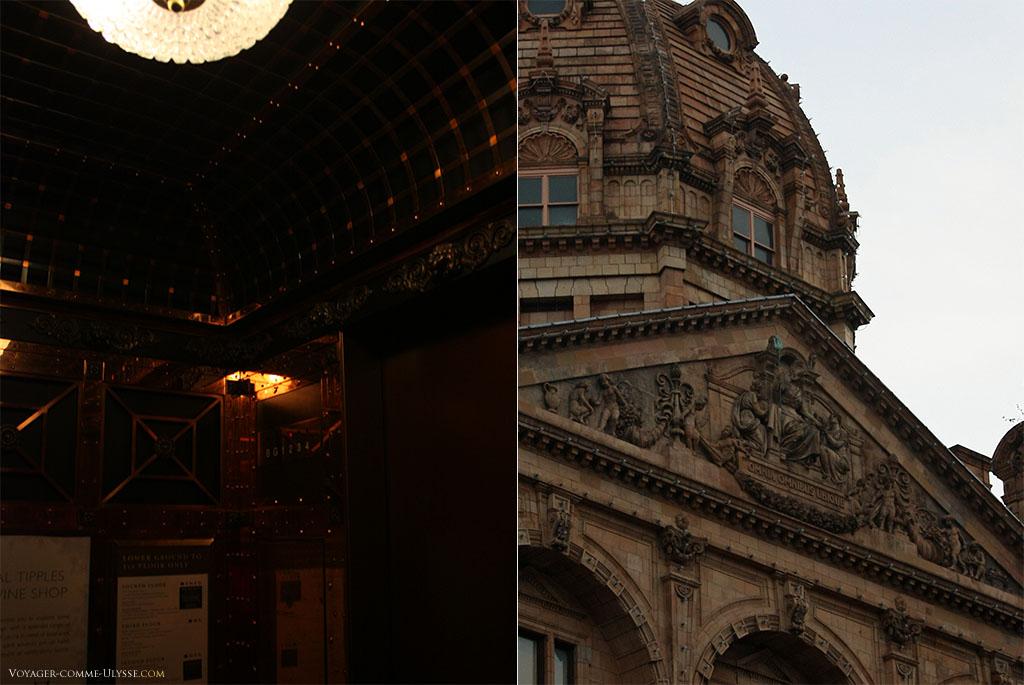 A gauche, l'ascenceur, incroyable, de Harrods. A droite, le fronton de la façade, avec la devise de Harrods.