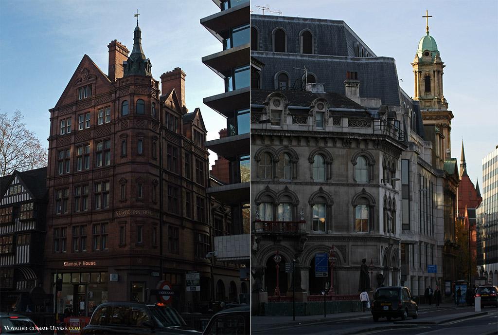Exemples d'architecture londonienne à Holborn.