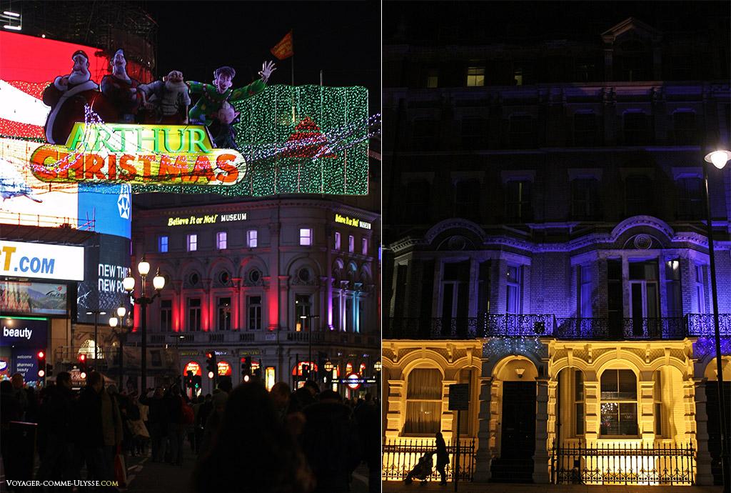 Sur la photo de gauche, Picadilly Circus, la célèbre place londonienne et ses écrans géants, décorée ce soir là pour Noël. A droite, une autre photo de nuit de Londres, un immeuble d'un beau quartier résidentiel londonien.