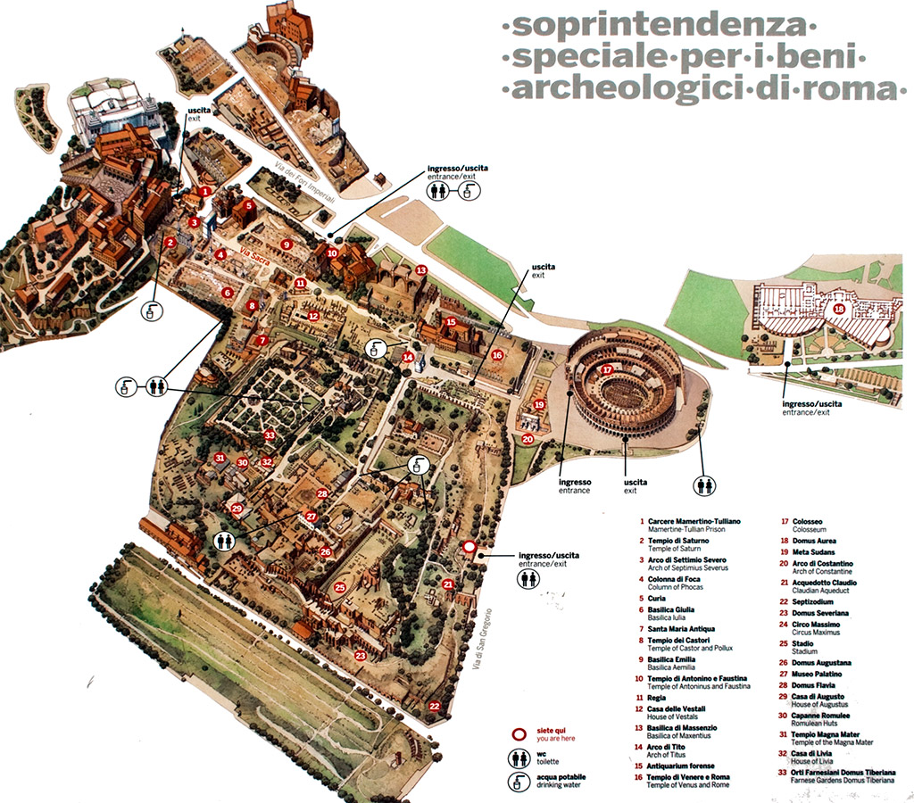 Mapa geral das ruínas dos fóruns de Roma.
