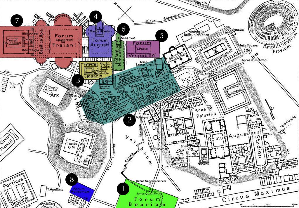 Mapa dos fóruns de Roma.