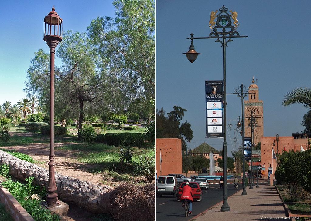 Sur la photo de droite, au bout de la rue, la Koutoubia. Au premier plan, les beaux lampadaires portant les armoiries du Maroc. Sur la photo de gauche, un lampadaire qui a connu de meilleurs jours...