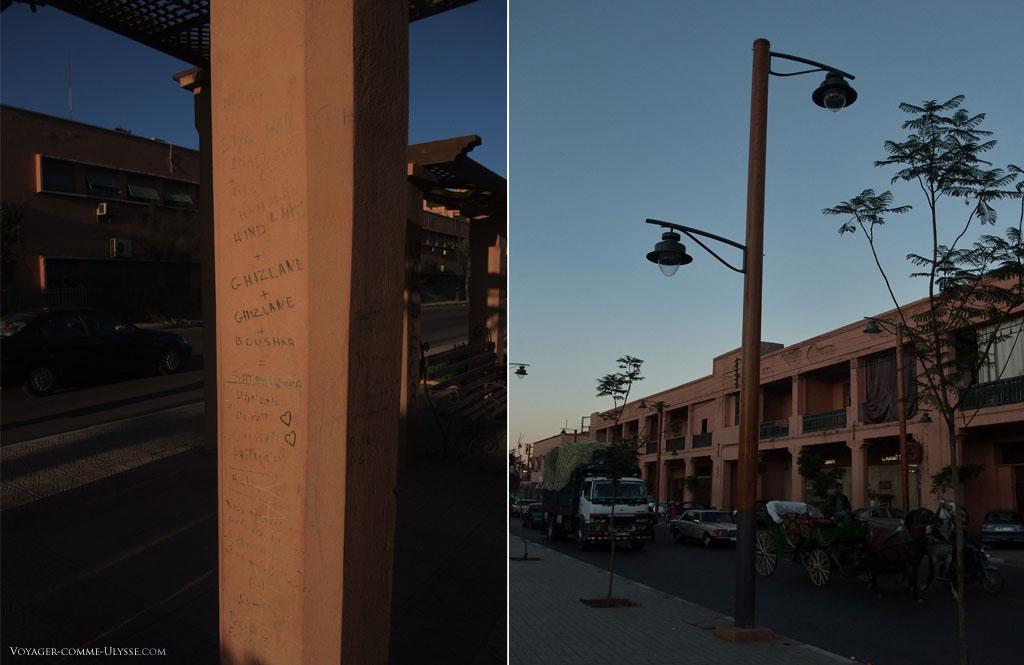 Sur la photo de gauche, quelques graffitis, des messages d'amour. Sur la droite, un lampadaire moderne.