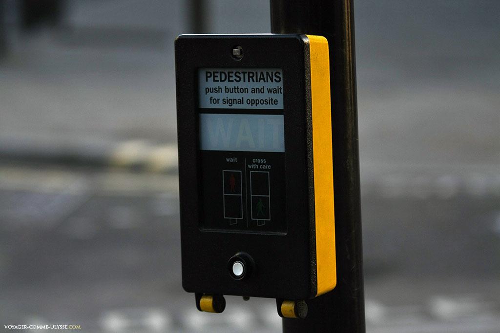La voiture n'est plus la bien venue à Londres, et le piéton le sait. Les boutons pour faire passer les feux au rouge sont pléthore dans la capitale anglaise.