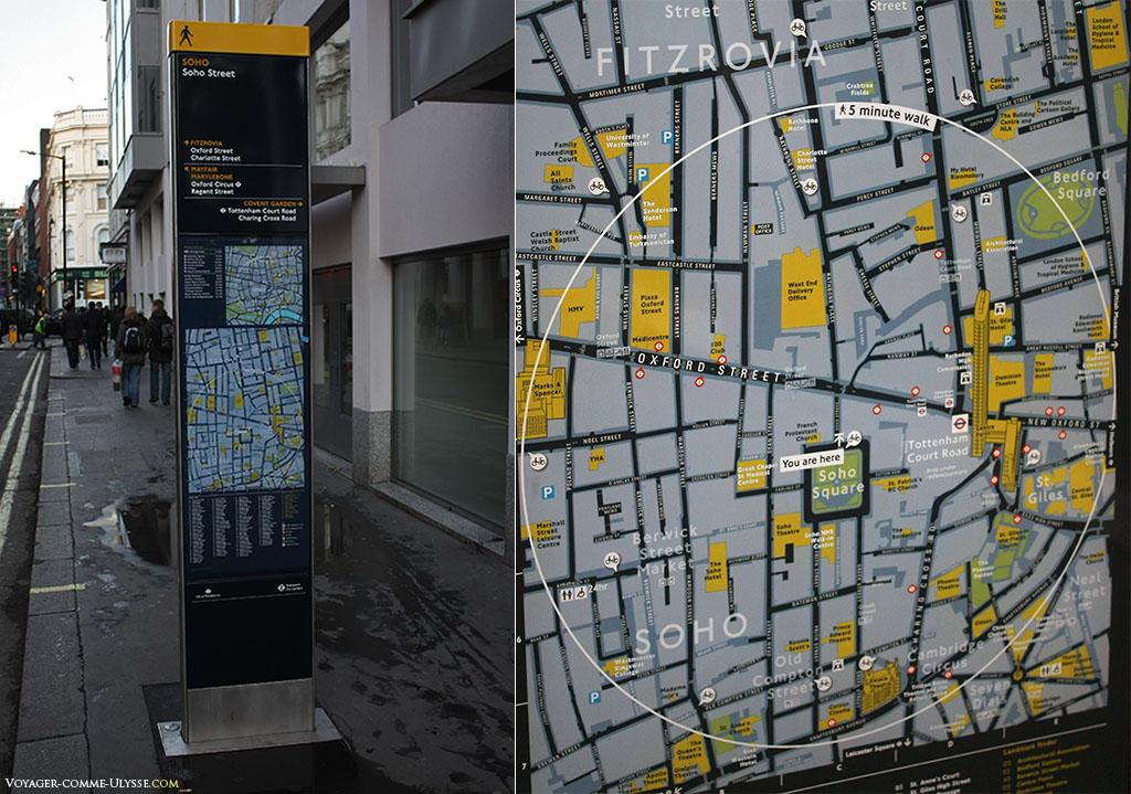 Ces panneaux informatifs, avec le plan du quartier sont précieux pour les touristes que nous sommes. Vous pouvez voir sur la carte en gros plan à droite qu'on peut très rapidement comprendre ce qui est accessible à 5 minutes de marche.