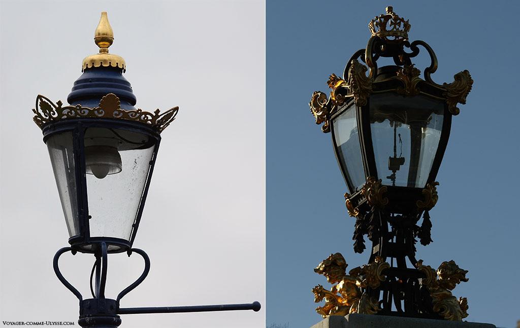 Devinez lequel de ces deux lampadaires est à coté de Buckingham Palace? Celui de droite, richement décoré avec des petits chérubins dorés et surmonté d'une couronne, ou celui de gauche, très joli, mais nettement plus sobre?