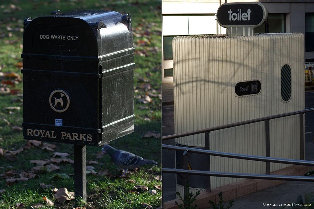 A gauche, une poubelle pour le caca de chien anglais. A droite, comme un air de déjà vu... c'est le même modèle des anciennes toilettes publiques parisiennes!