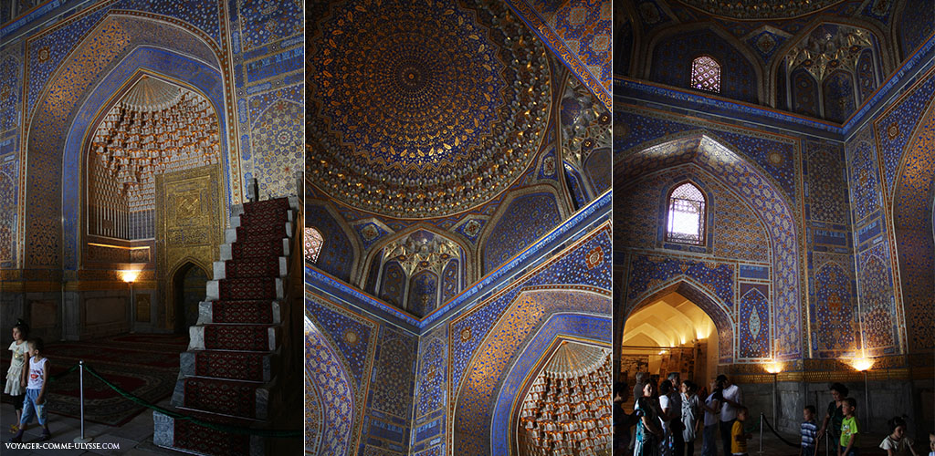Voici pourquoi cette madrasa porte son nom. La richesse des décorations, la précision des dorures et des motifs sont l'expression d'un art raffiné. A gauche, le mihrab et son minbar, au centre, les dorures de la coupole.