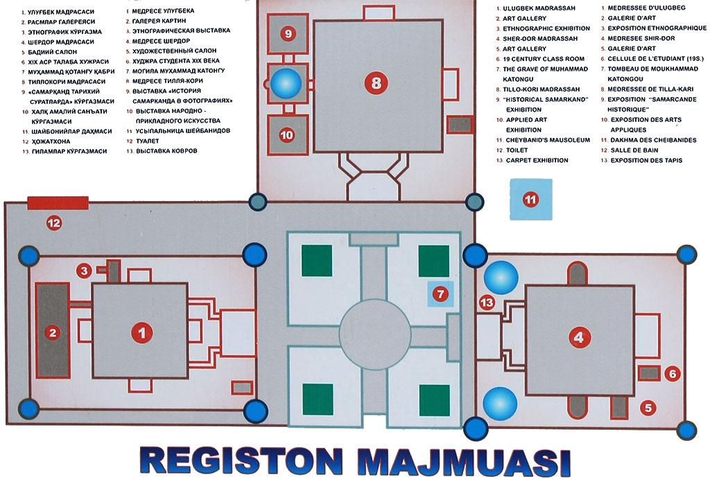 Plan du Régistan et de ses monuments