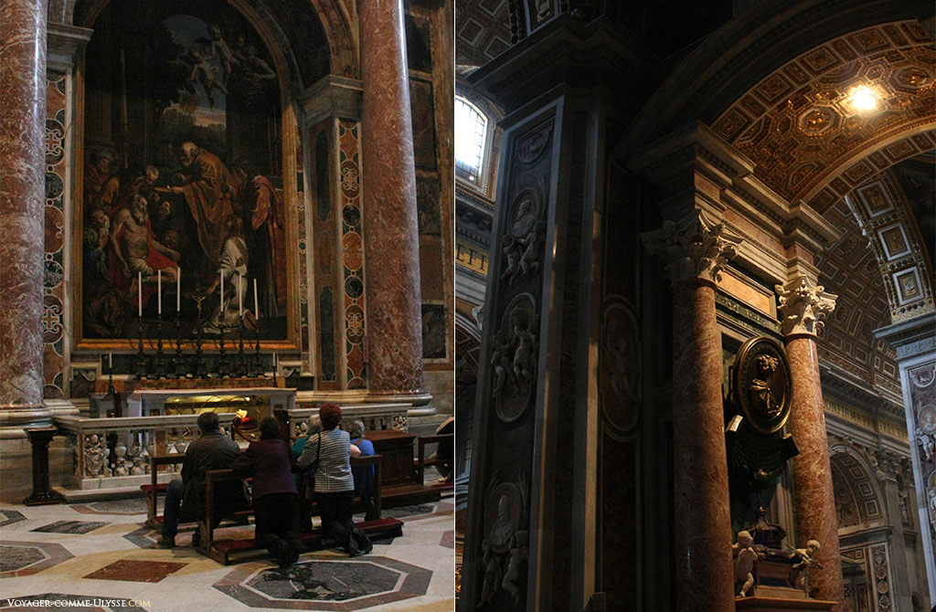 Há sempre pessoas mostrando a sua devoção à Deus em São Pedro de Roma como aqui exposto na fotografia da esquerda. À direita, detalhes da abundante decoração.