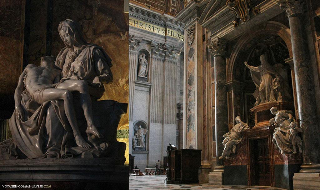 À esquerda, a mais célebre das estátuas da basílica, a Pietà de Miguel Ângelo. À direita, o túmulo de Bento XIV, um dos inúmeros túmulos papais existentes no interior da basílica.