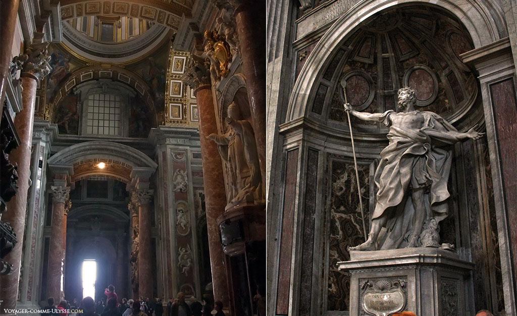 A gauche, la statue d'un pape en oraison, à droite, la statue de Longinus, réalisée par Le Bernin.