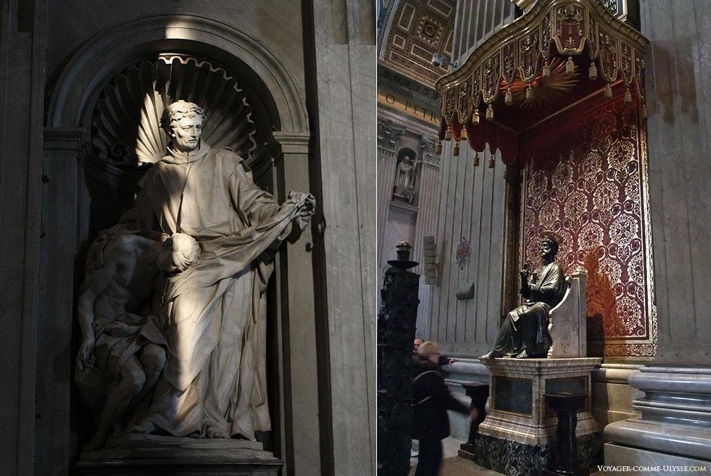 A gauche, la statue de Saint Jean de Dieu partageant son manteau avec un mendiant. A droite, la statue en bronze de Saint-Pierre, de Arnolfo di Cambio, du XIIIème siècle. Ses pieds sont complètements usés par les pèlerins.