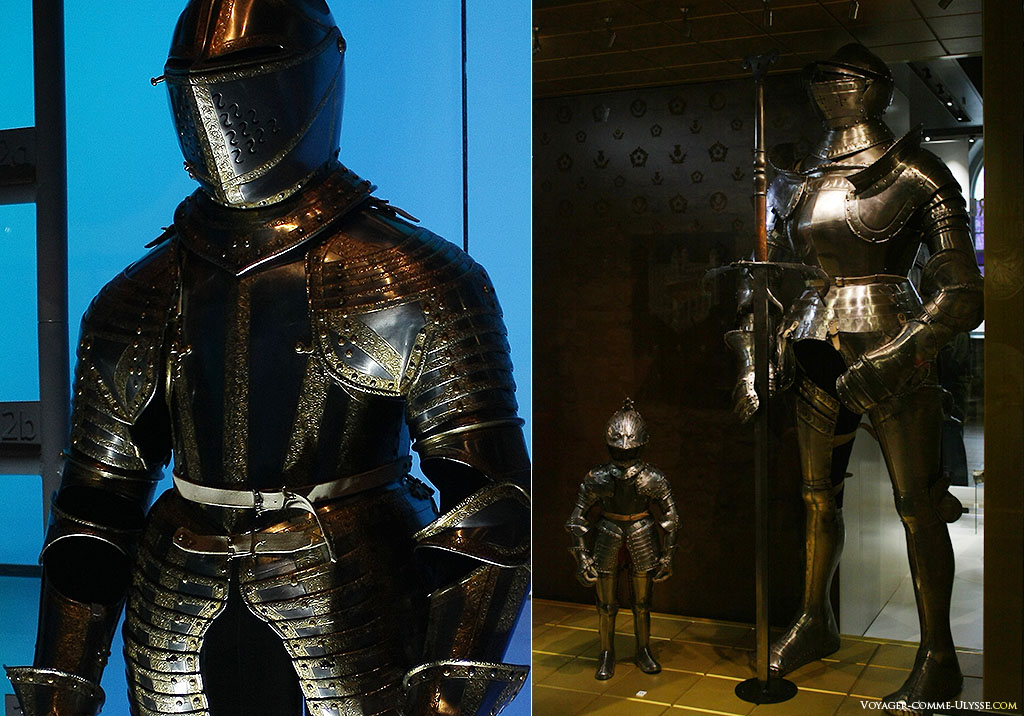 A gauche, un superbe exemplaire d'armure, comme on en faisait à la Renaissance. Les armuriers, bientôt disparus, étaient alors au sommet de leur Art. La photo de droite présente deux modèles, l'un fait pour un enfant, l'autre pour un géant de plus de 2m.