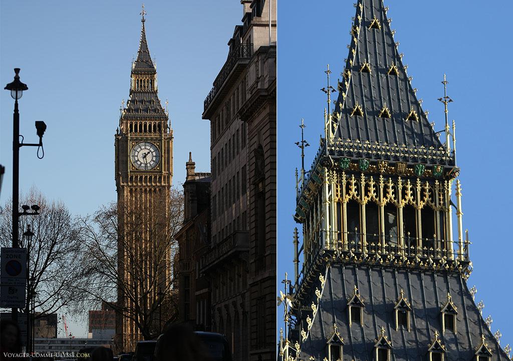 On remarque les fins détails sur la photo de droite de Big Ben. La toiture de la tour, parée de dorures, et les gens dans le campanile...