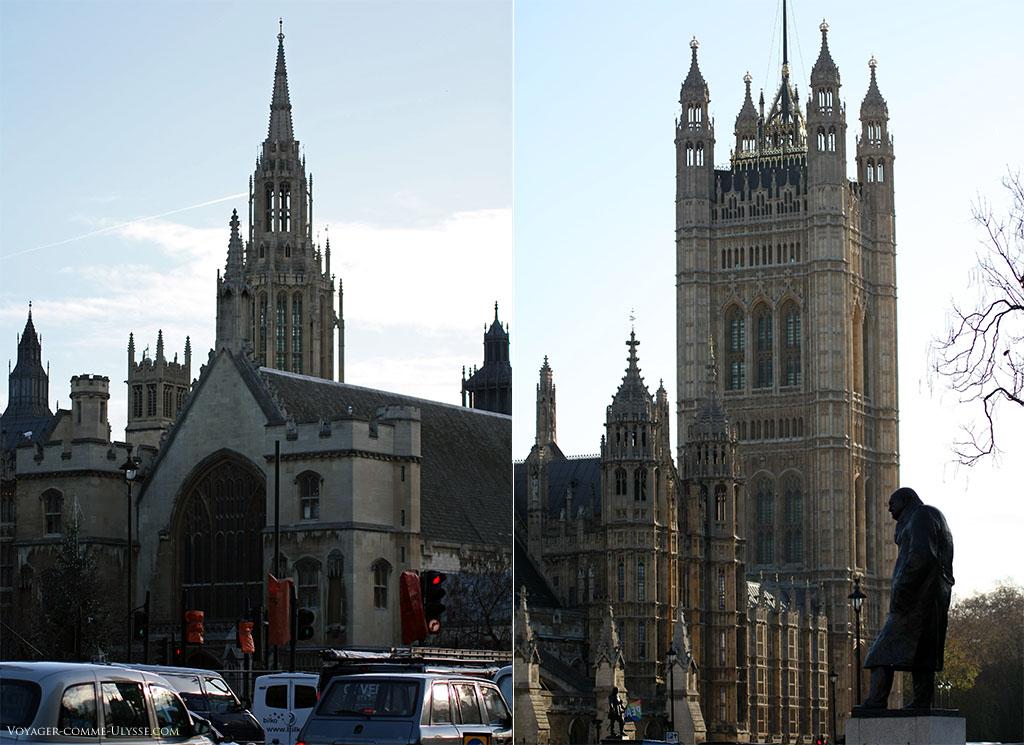 A gauche au premier plan, Westminster Hall, plus ancien bâtiment du Palais. A droite, la Tour Victoria.