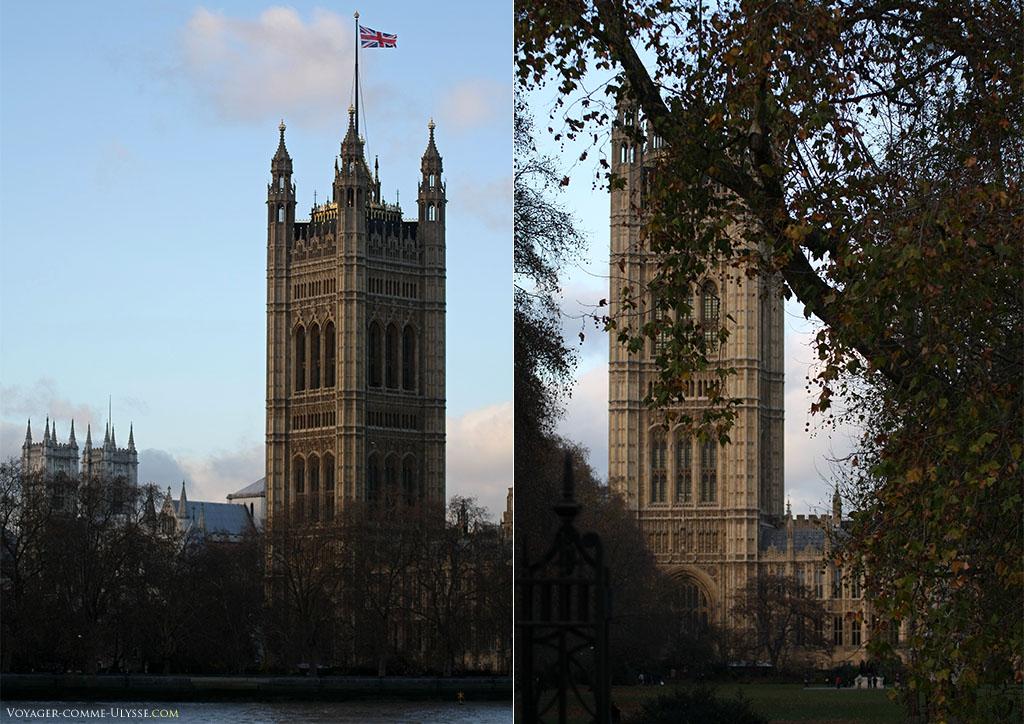 La Tour Victoria, avec à droite une photo prise des Victoria Tower Gardens,les jardins de la Tour Victoria.