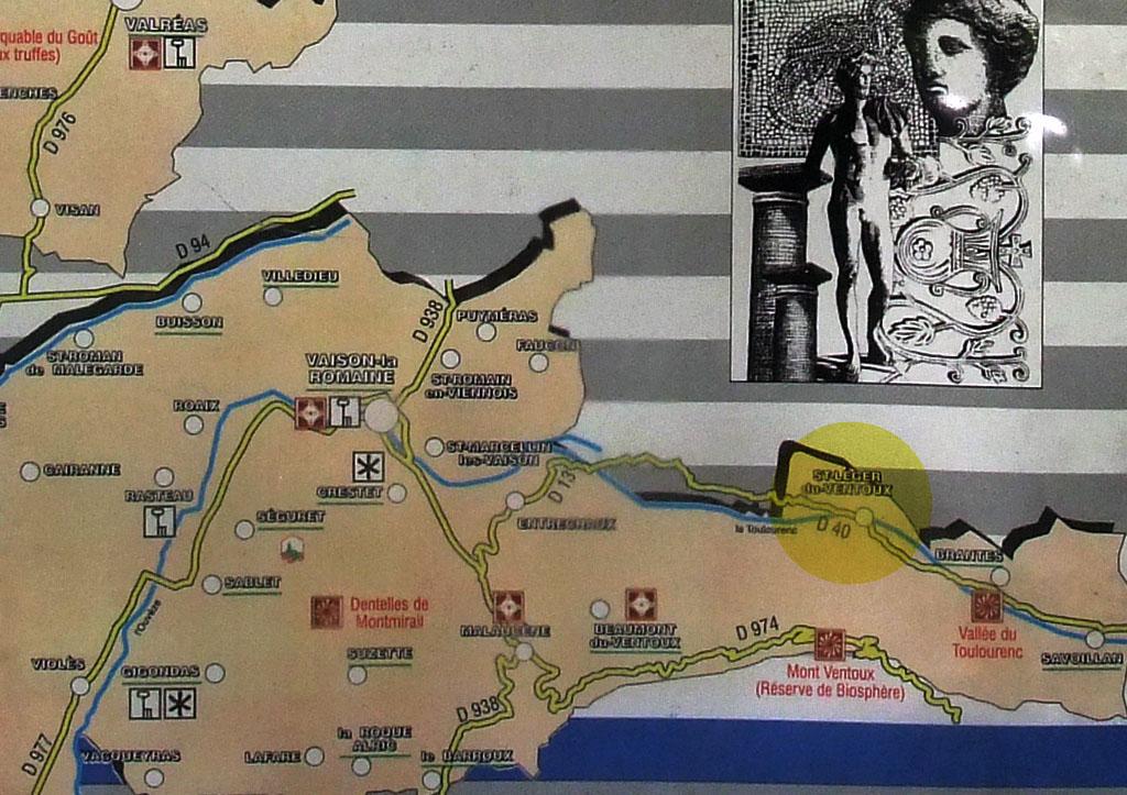 Carte de la région de Saint-Léger, signalé par le point jaune.