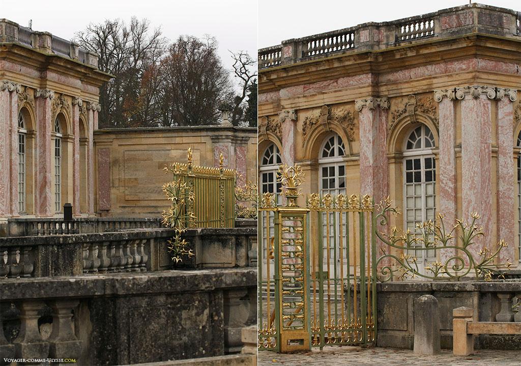 Duas perspetivas sobre o gradeamento da entrada do Grand Trianon.