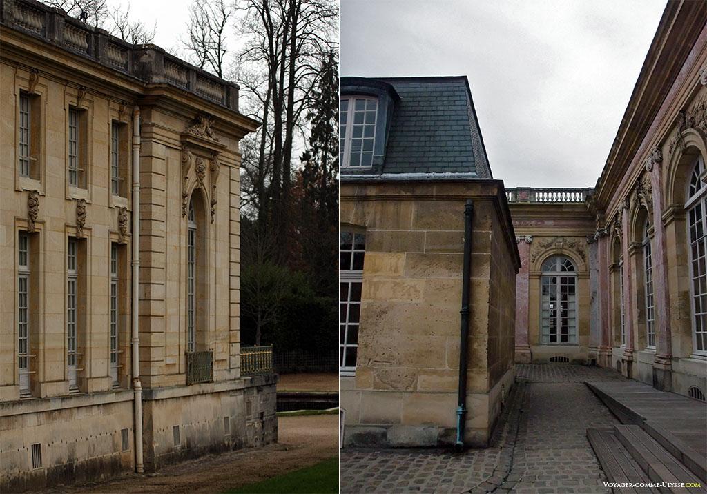Á esquerda, o Trianon-Sous-Bois. Á direita, vemos os estragos causados pelas construções posteriores à Luís XIV que estragam a vista!