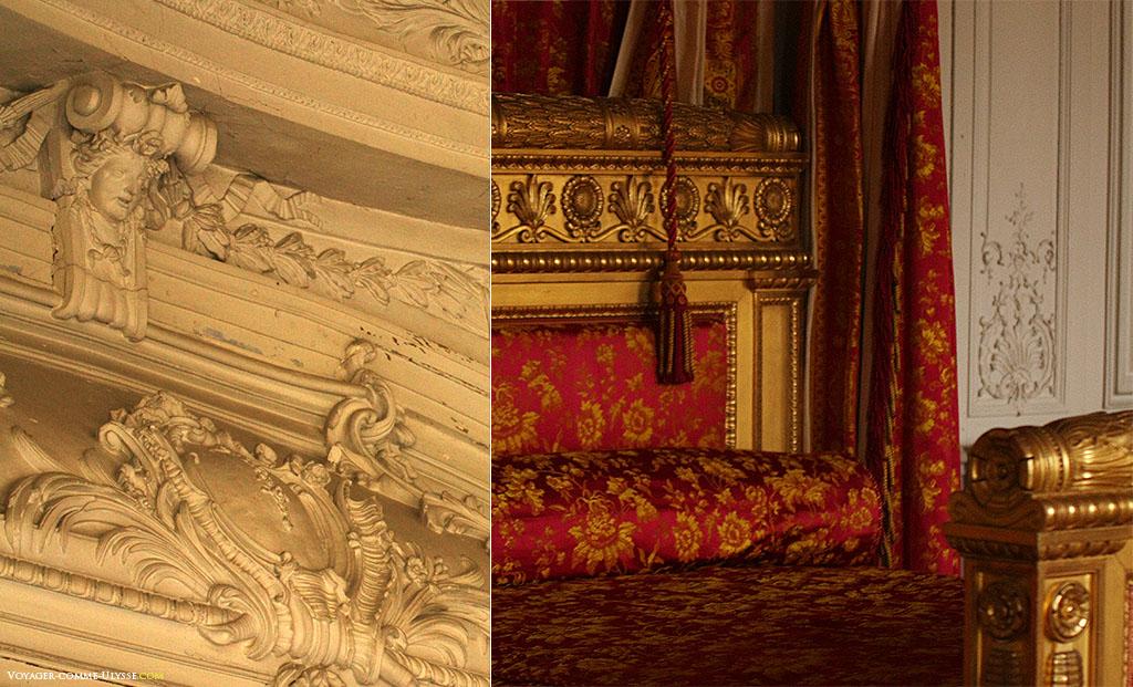 A gauche, moulures du salon Rond. A droite, lit de la chambre de la Reine des Belges.