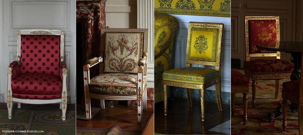 As cadeiras acompanham o estilo dos cortinados. Como sempre, há uma unidade de estilo no conjunto do Grand Trianon. Mesmo que as cores mudam, as costas das cadeiras serão sempre retangulares para tomar apenas este exemplo.