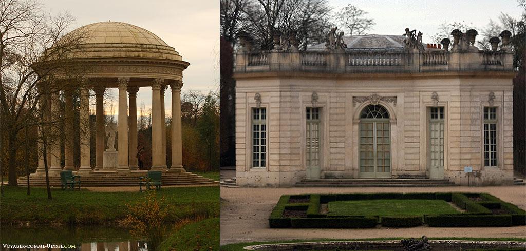 A gauche, le Temple de l'Amour. A droite, au travers d'une fenêtre du Petit Trianon, le Pavillon Français.