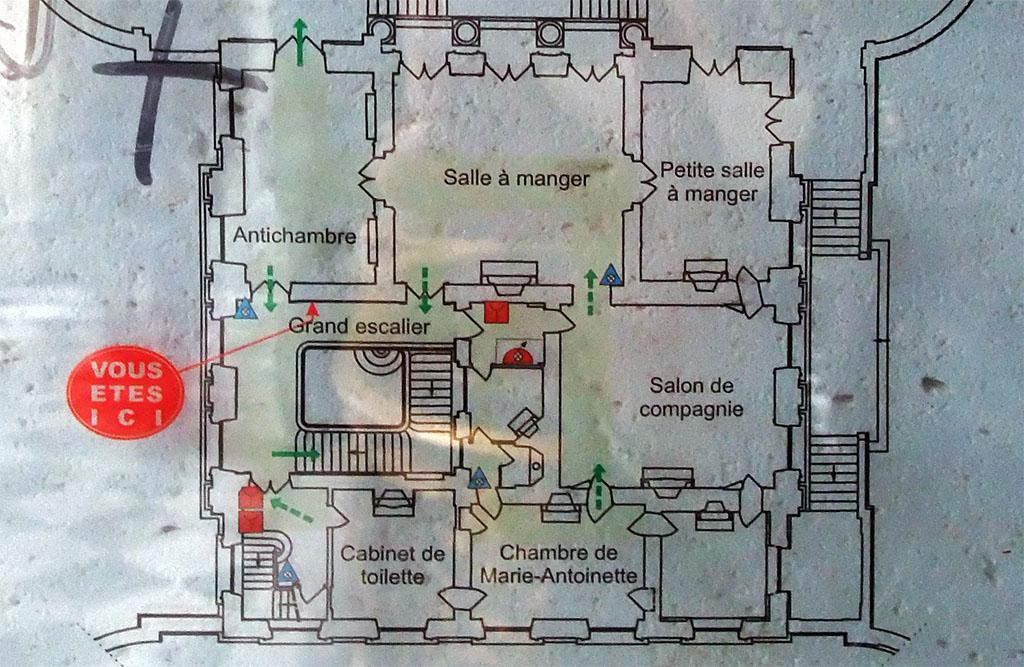 Plan du Petit Trianon. Pratiques ces cartes de sécurité!