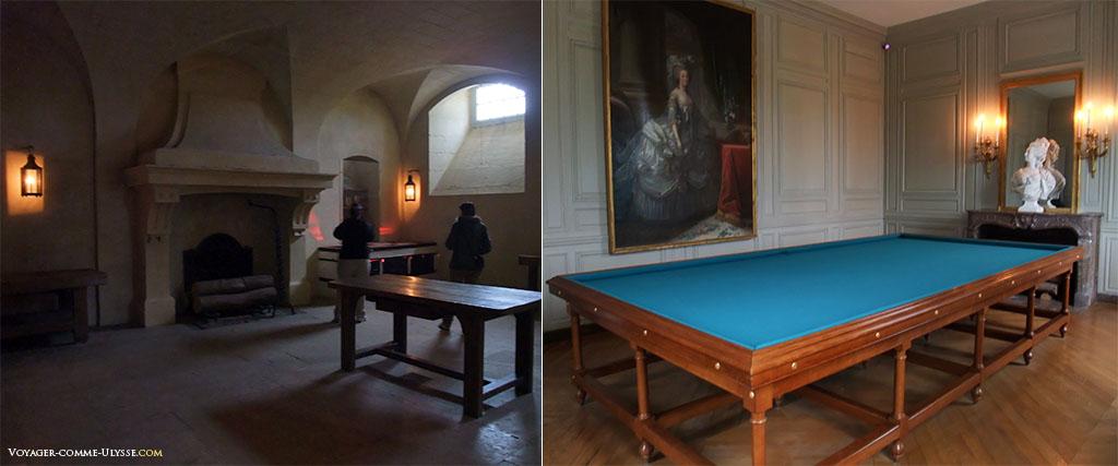 La photo de gauche : le réchauffoir, où les plats cuisinés étaient réchauffés avant d'être servis. A droite, la Salle de Billard, avec sa reconstitution de 2008.