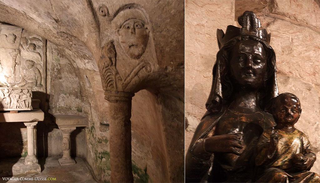 A gauche, figure de Lazare dans le chapiteau, et à droite, la Vierge Noire.
