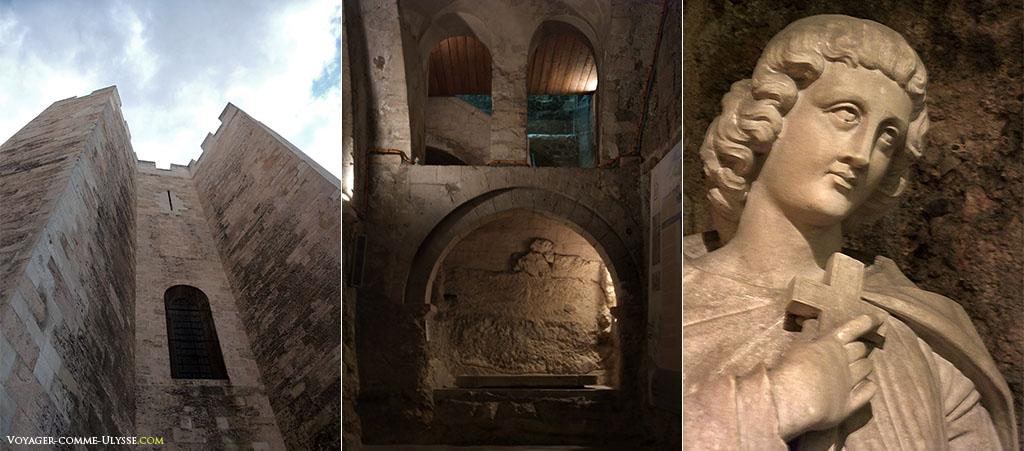 De gauche à droite : une des tours crénelées, la crypte et statue de Saint Victor.