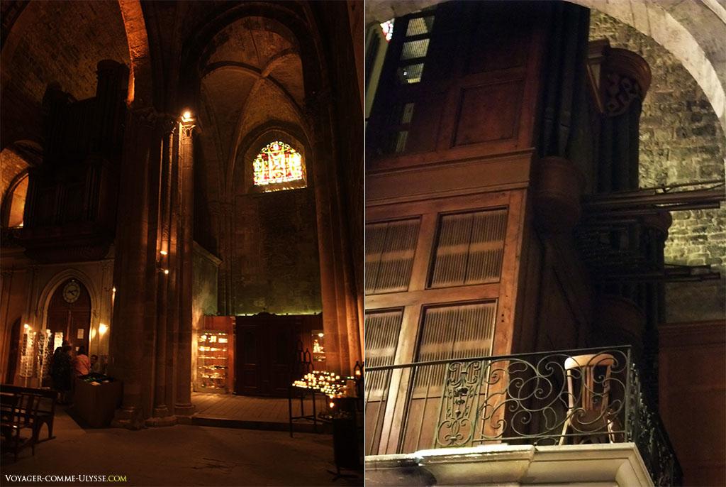 Deux vues de l'intérieur de l'église avec à droite les orgues.