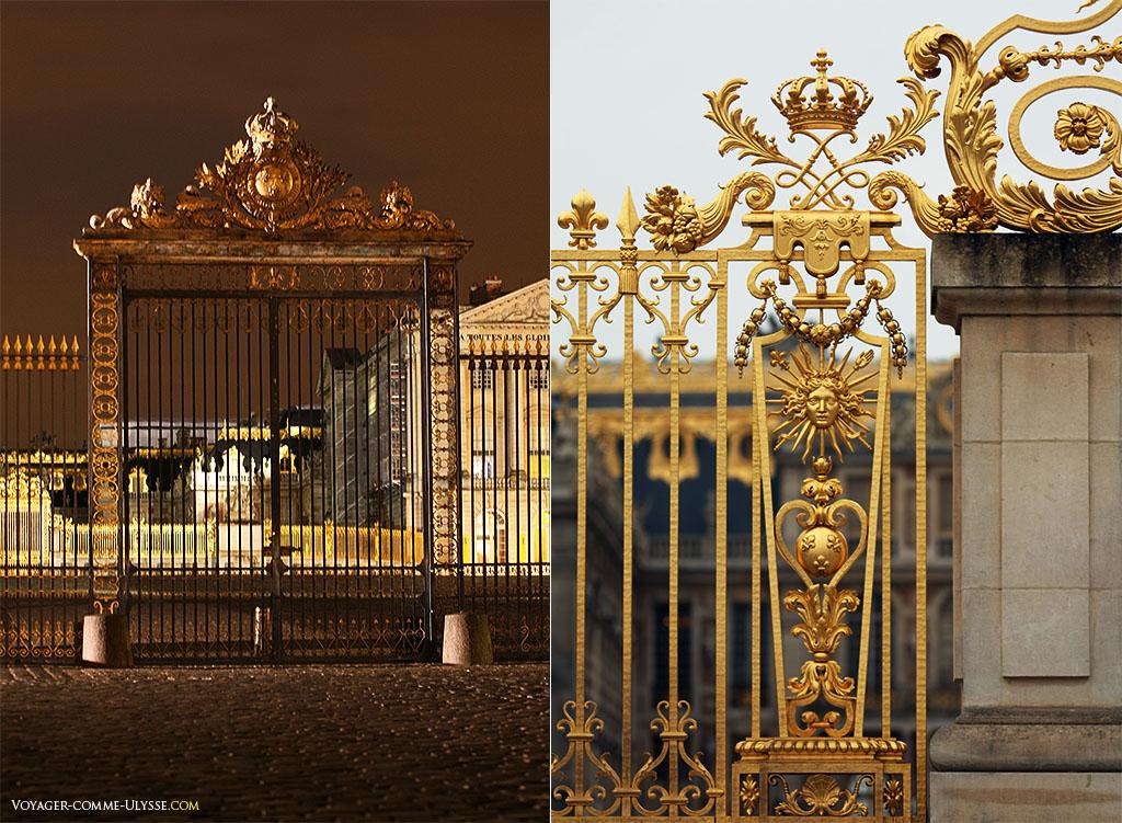 Grille d'Honneur à gauche et détail de la Grille Royale à droite.