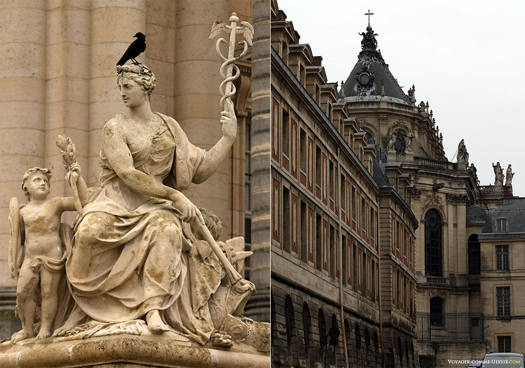 A gauche, une des statues de la Grille Royale, La Paix, par Jean-BaptisteTuby. A droite, l'Aile des Ministres Nord et la Chapelle Royale, coté ville, Place Gambetta.