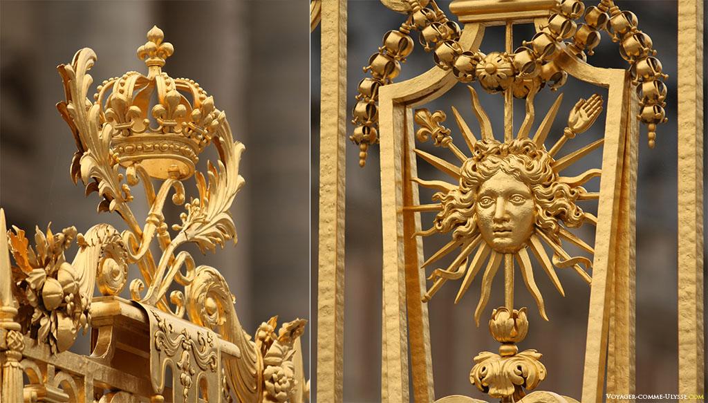 Deux détails de la Grille Royale, avec une couronne à gauche et un soleil à droite.