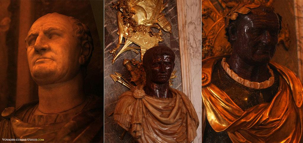 Três dos inúmeros bustos dos imperadores romanos que decoram um pouco por todo o lado o palácio.