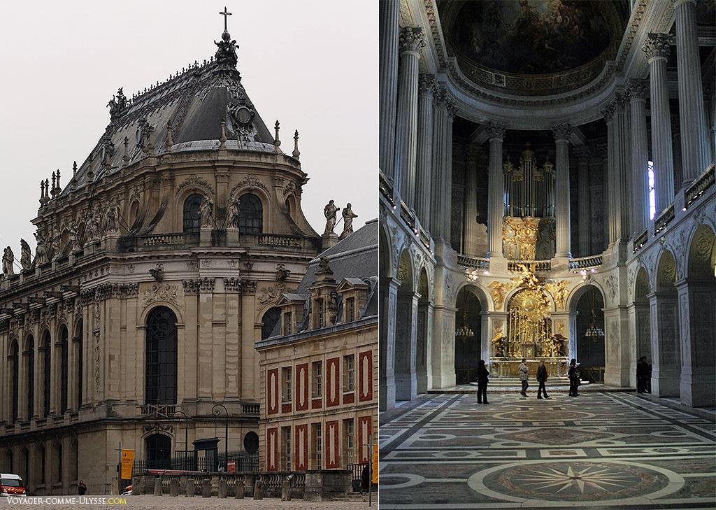 A gauche, la Chapelle Royale vue de l'extérieur. A droite, l'intérieur.
