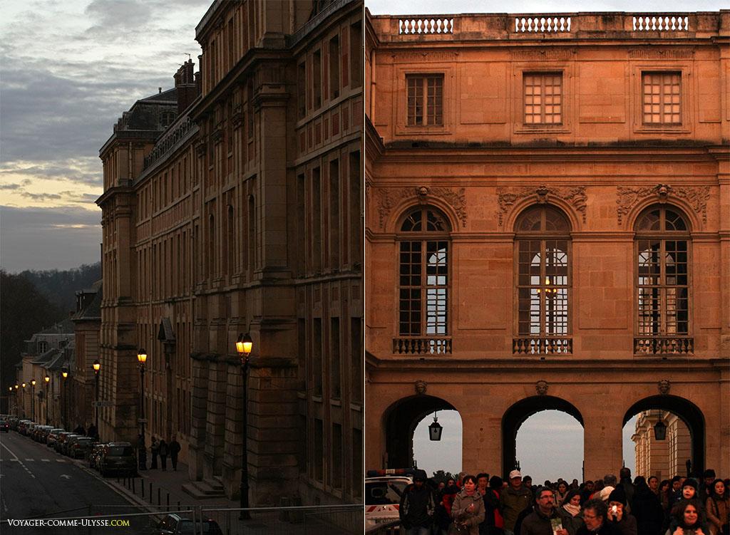 A gauche, l'Aile du Midi coté ville, rue de l'indépendance américaine, beaucoup moins clinquante que coté jardins. A droite, le passage des Princes, qui sépare la Cour des Princes des Jardins.